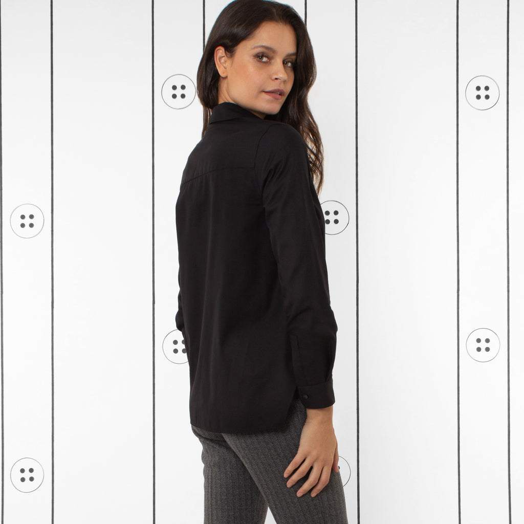 Thirteen Seven Trapezoid shirt, chic black blouse for women.