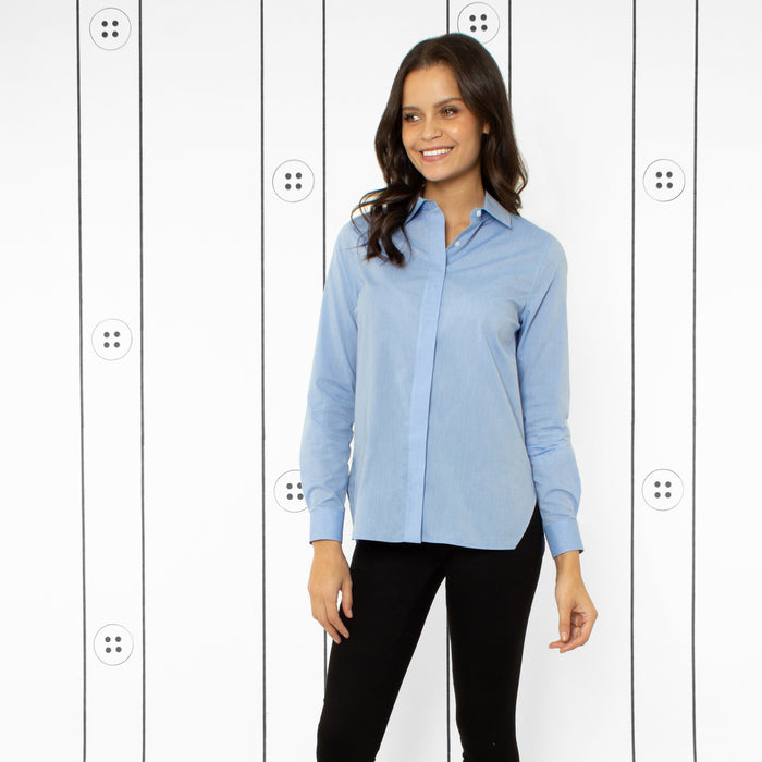 Thirteen Seven women's Trapezoid Shirt classic dress blouse in Little Boy Blue.