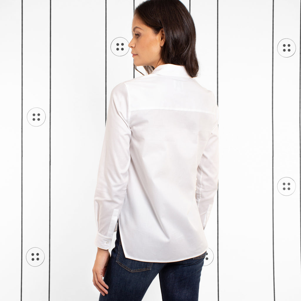 Thirteen Seven white Trapezoid shaped bottom hem classic white women's dress shirt. No Boob-Gape.