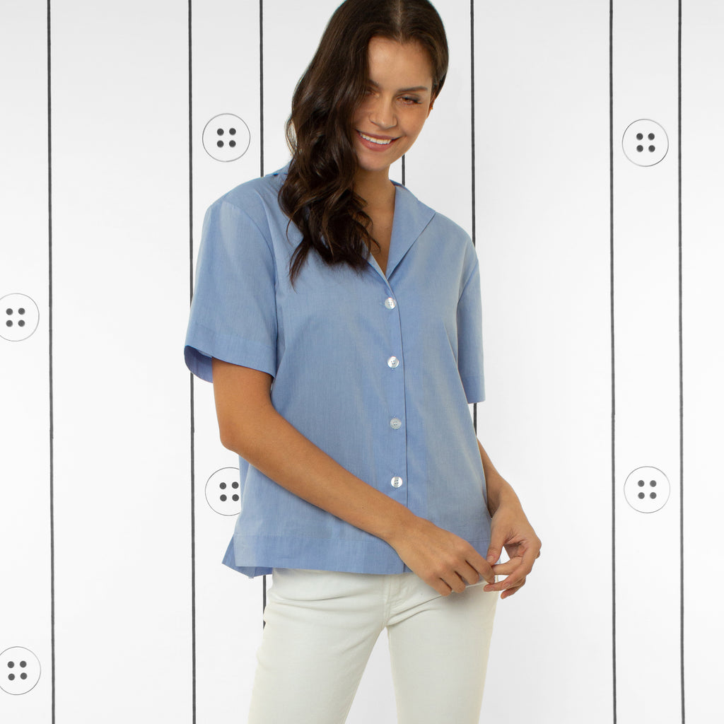 Thirteen Seven, The Fancy Bowler notch lapel shirt in Little Boy Blue. Short Sleeve.