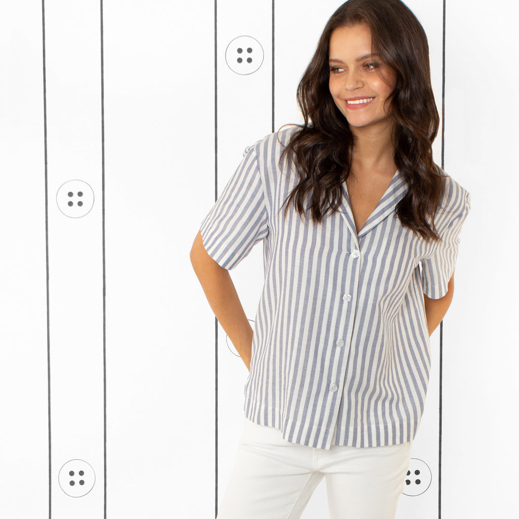 Thirteen Seven, The Fancy Bowler short sleeve notch lapel shirt in navy and white stripes.