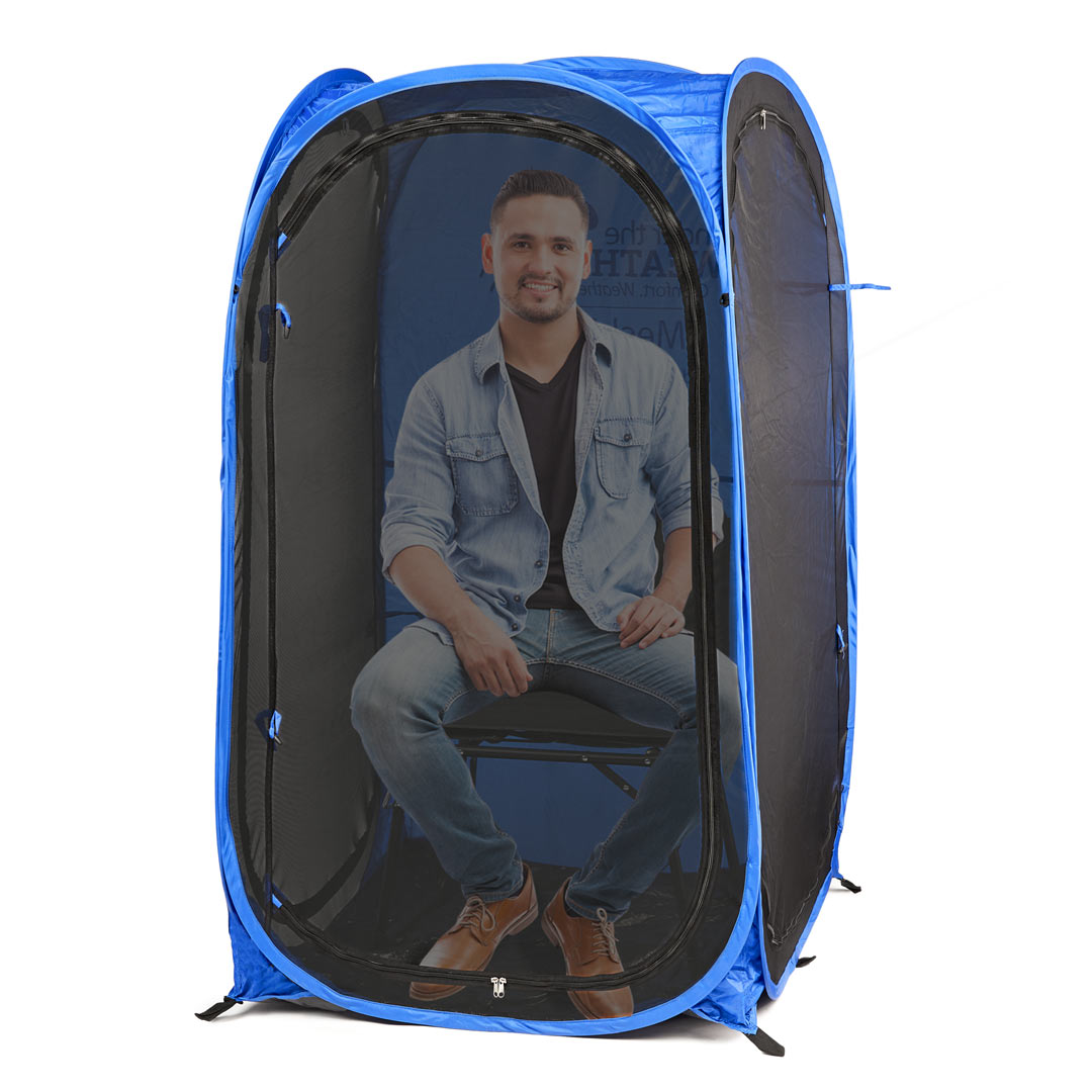 MyPod™ Mesh 1-Person Pop-up Tent - Royal Blue - Zipped - Under the Weather® - Personal pop-up sports tent for mom, dad, kids, parents - Perfect for soccer, baseball, softball, football, youth team sports - As Seen on Shark Tank