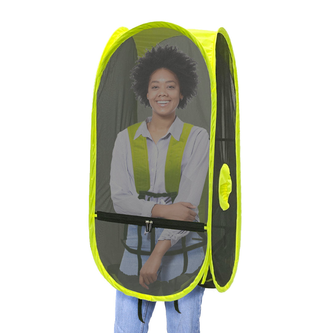 WalkingPod Mesh - Short - Safety Yellow - Under the Weather® - Personal pop-up wearable Pod tent - Perfect for insect and sun protection - protects against cicadas, nostrums, mosquitos - ideal for landscapers, gardeners, outdoor workers - As Seen on Shark Tank