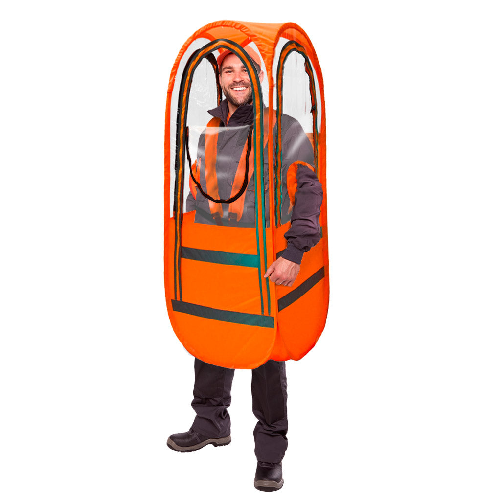 WalkingPod Pro - Tall - Safety Orange - Food Delivery - Under the Weather® - Personal pop-up wearable Pod tent - Perfect for social distancing, healthcare workers, outdoor workers - As Seen on Shark Tank
