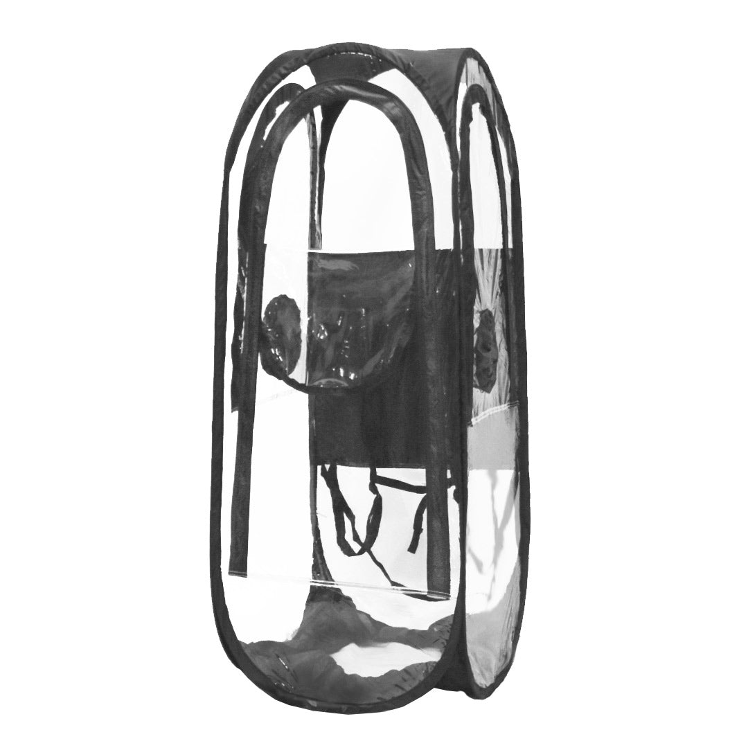 WalkingPod 360° - Tall - Clear - Unzipped - Under the Weather® - Personal pop-up wearable Pod tent - Perfect for social distancing, healthcare workers, outdoor workers - As Seen on Shark Tank