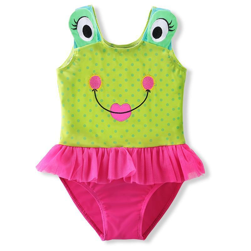 Summer Cute Little Frog Pattern Baby Girls Swimwear Baby Swimwear One Piece Suit Swim Girls Swimsuit Dress Bikini-Dress-SheSimplyShops