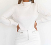 Forefair Turtleneck Sweaters Women Winter White Black Long Sleeve Ribbed Knit Crop Sweaters Pullovers Ladies