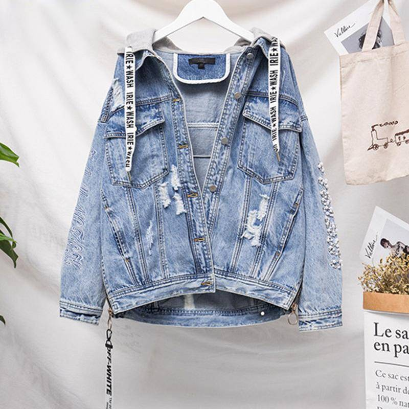 Vangull plus size 5XL Embroidery beading Hood Denim Jacket Spring Autumn Winter Female Jean Coat Vintage Streetwear Coats
