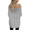 Thick Warm Sweaters Autumn Winter Slash neck Knitted Pullovers Off Shoulder Solid Casual Knitting Lady Sweater