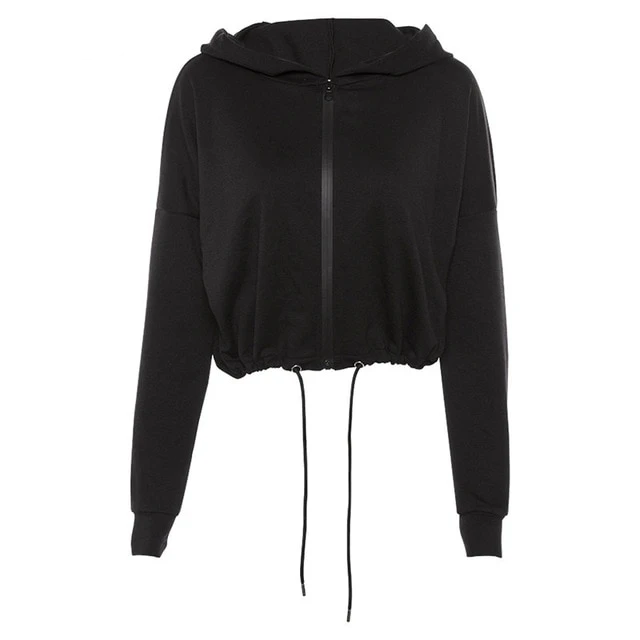 Kliou women full sleeve zipper fly hoodies jackets autumn winter solid black drawstring loose short fashion street outwear