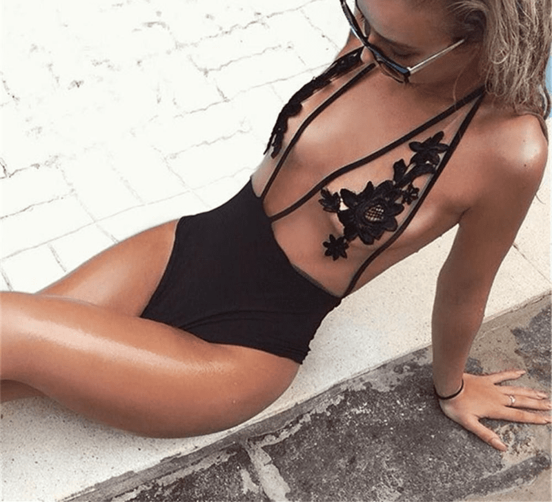 Halter Floral Lace-up Bathing Suit Mesh Perspective Lace Patchwork Hollow Out Backless Swimwear for Women-SWIMWEAR-SheSimplyShops
