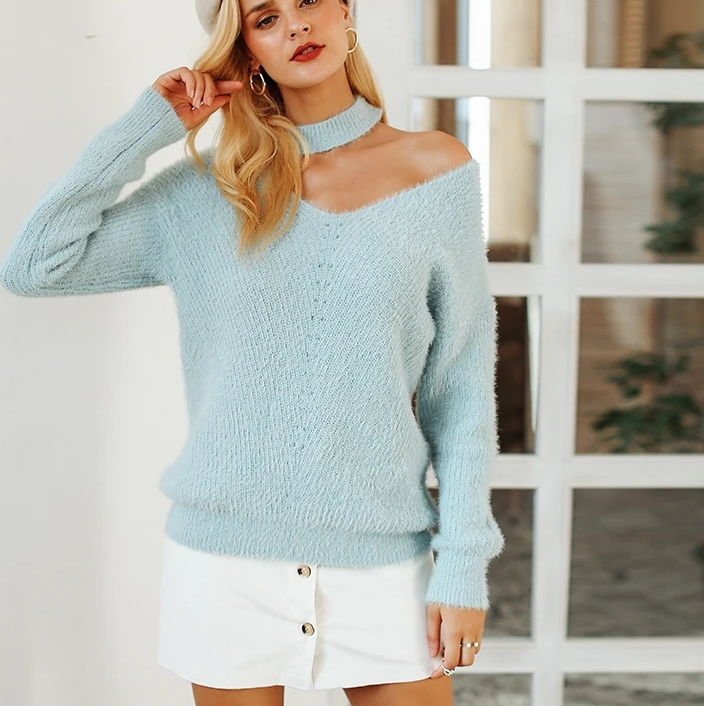 Simplee halter cold shoulder knitted sweater women V neck autumn winter casual pullover jumpers sweater pull femme