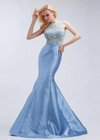 Evening Dresses O Neck Crystal Beading Mermaid Blue Vintage Sleeveless Illusion Prom Gowms Plus Size