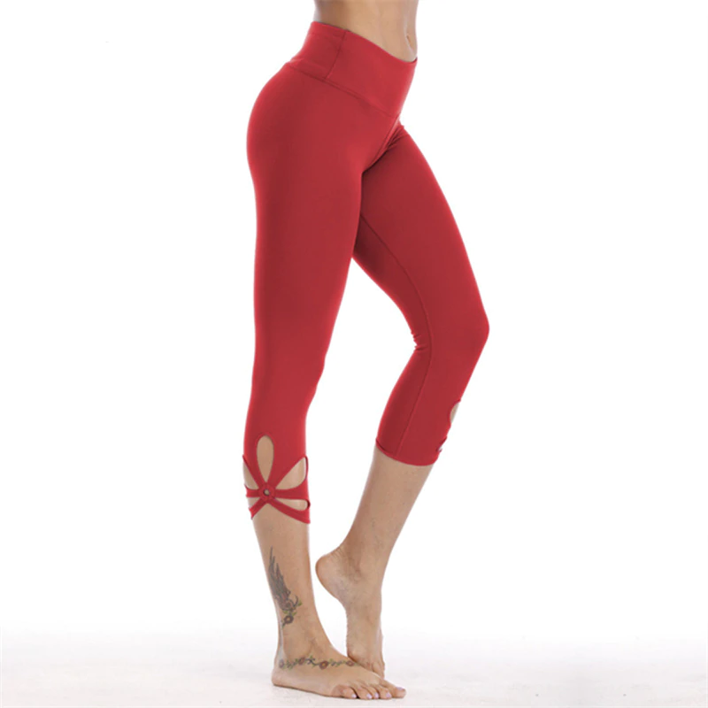 Oyoo Red Workout Capris High Waist Yoga Pants Tummy Control Cutout Side Gym Pants Women Cute Jogging Femme 3/4 Sport Leggings