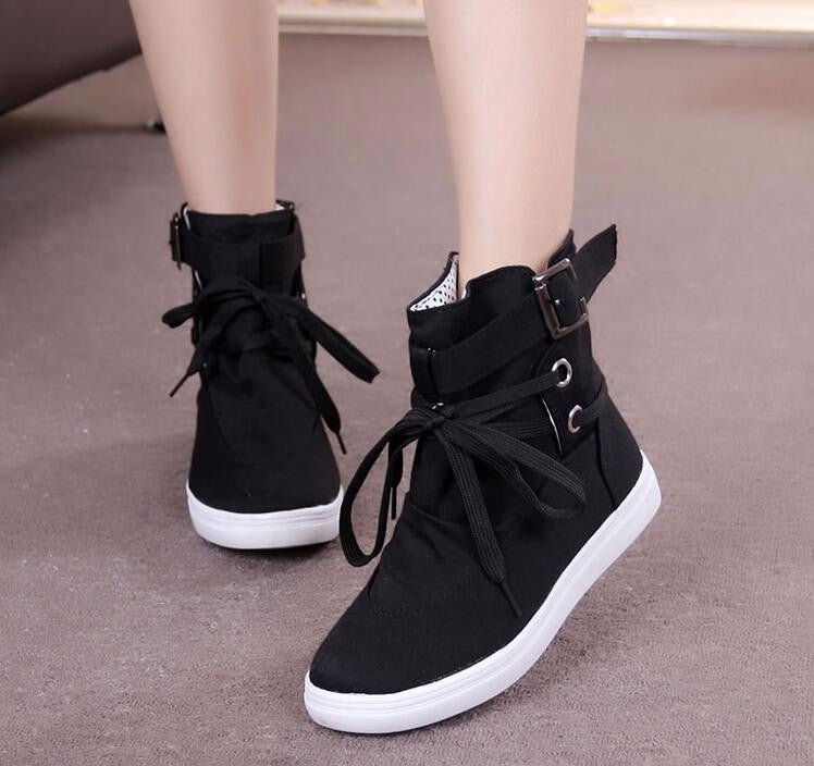 High Top Ankle Solid Buckle Shoes