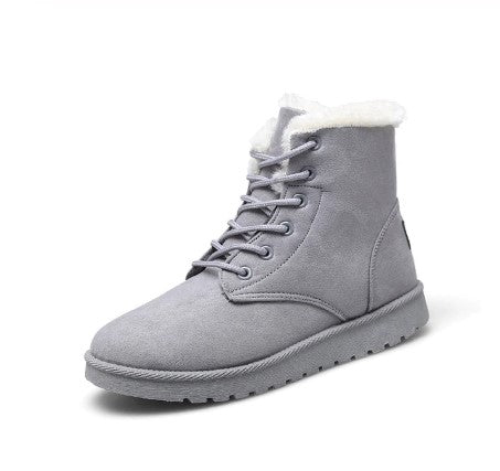 Ankle Boots For Women Solid Flat Casual Women Snow Boots Lace up Warm Cotton Shoes Girls Winter Boots
