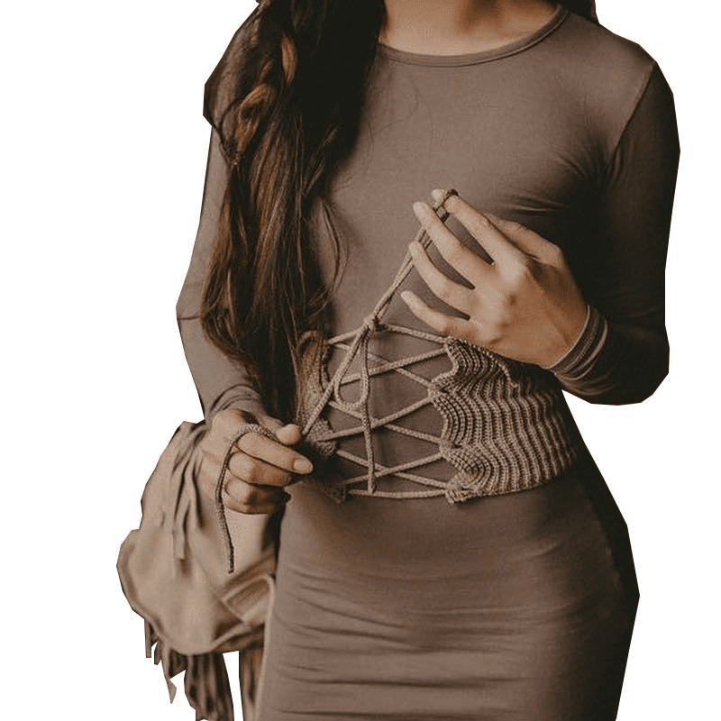 High Elasticity Crochet Lace Up Ribbed Stretch Elastic Fashion Belt Knitted Ribbed Women Corset Belt Shape-Making Waist Belt-SheSimplyShops