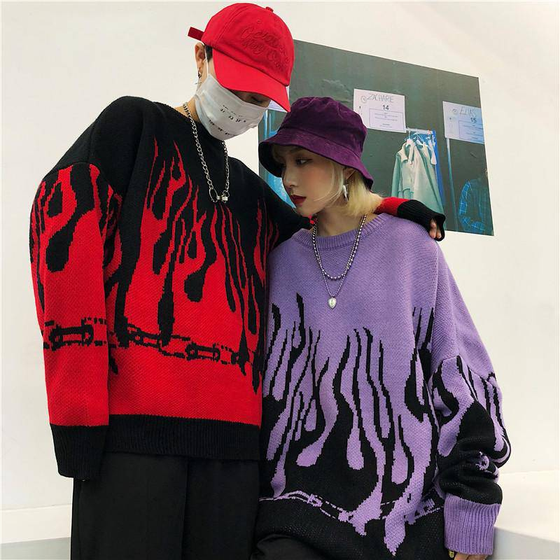 NYOOLO Autumn winter Hip hop sweaters Harajuku design loose batwing sleeve pullovers knitted sweaters women men clothing tops