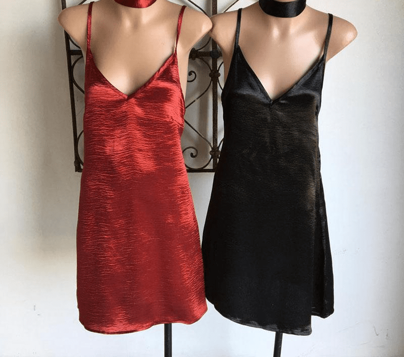 Cross Back Choker V Neck Sleeveless Women Satin Slip Dress Club Wear Summer Spring Silk Mini Party Dresses-SheSimplyShops