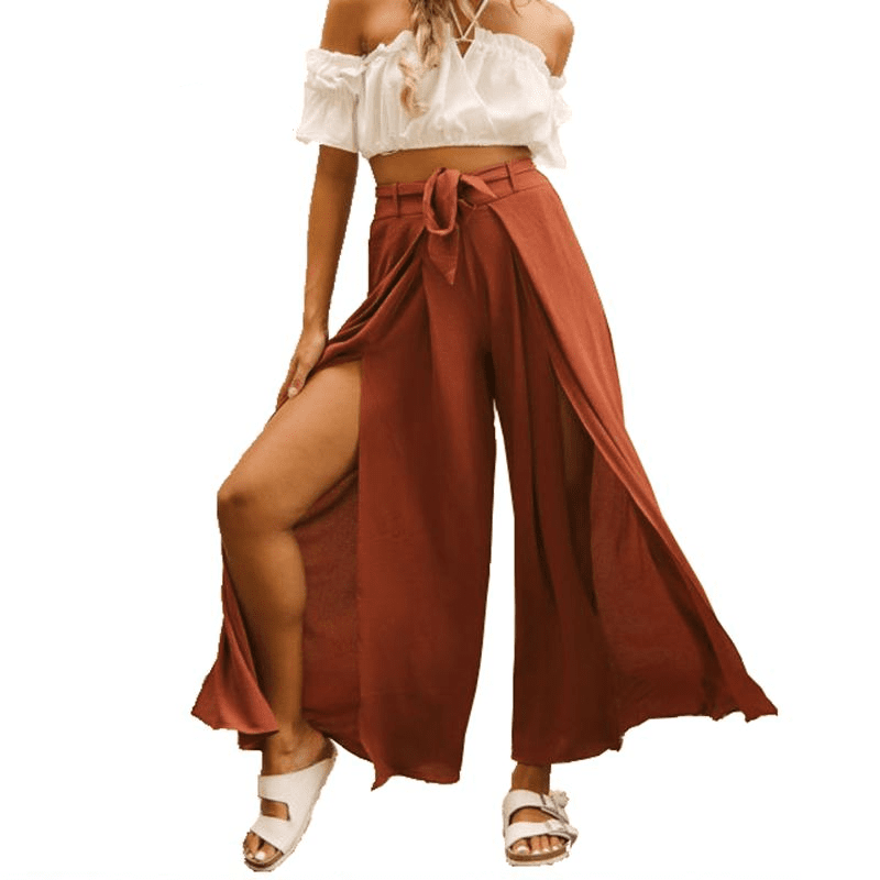 With Belt High Wasted Women Wide Leg Pants Summer Side Slit Beach Long Trousers Casual Bohemian Beach Pants-SheSimplyShops