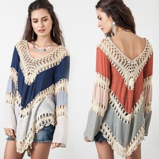 Summer New Womens Beach Cover Up Dresses Crochet Bikini Long Sleeve Swimwear Bathing Suit Cover Ups Beach Tunic Top-Dress-SheSimplyShops