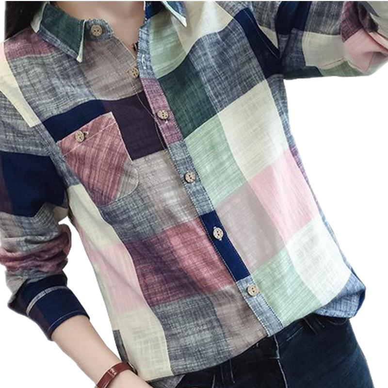 Female Casual Cotton Long Sleeve Plaid Shirt Women Slim Outerwear Blouse Tops Blush-Blouse-SheSimplyShops