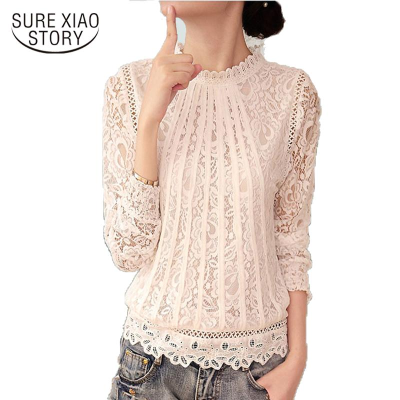 Summer Ladies White Blush Women's Long Sleeve Chiffon Lace Crochet Tops Blouses Women Clothing Feminine Blouse-Blouse-SheSimplyShops
