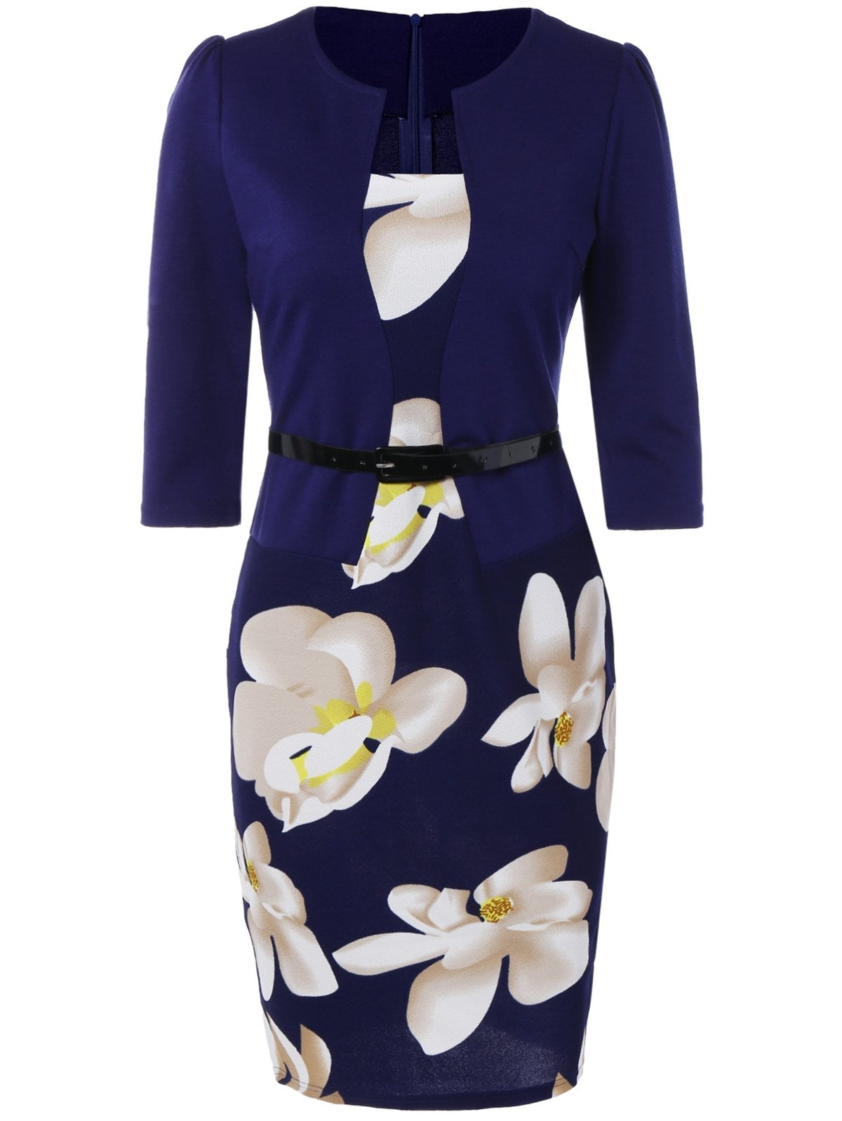 Floral Knee Length Pencil Fitted Work Dress-Dress-SheSimplyShops
