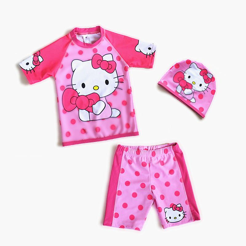 Girls Hello Kitty Swimsuit Three-Piece Sporting Suits Long Sleeve Solid Children Kids Swimwear Beachwear-ACTIVEWEAR-SheSimplyShops