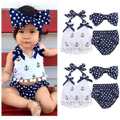 New Baby Girls Belt Swimwear 3PCS Set Print Tassels Tops Polka Dots Triangle Shorts Bow Headband Briefs Outfits Set-Tops-SheSimplyShops