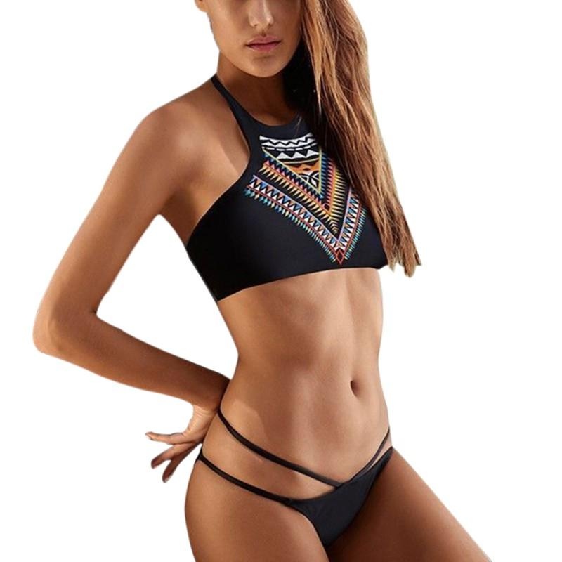 Women Bikinis High Neck Push up Bikini Set Geometry Black Swimwear Female Slim Print Swimsuit-SWIMWEAR-SheSimplyShops