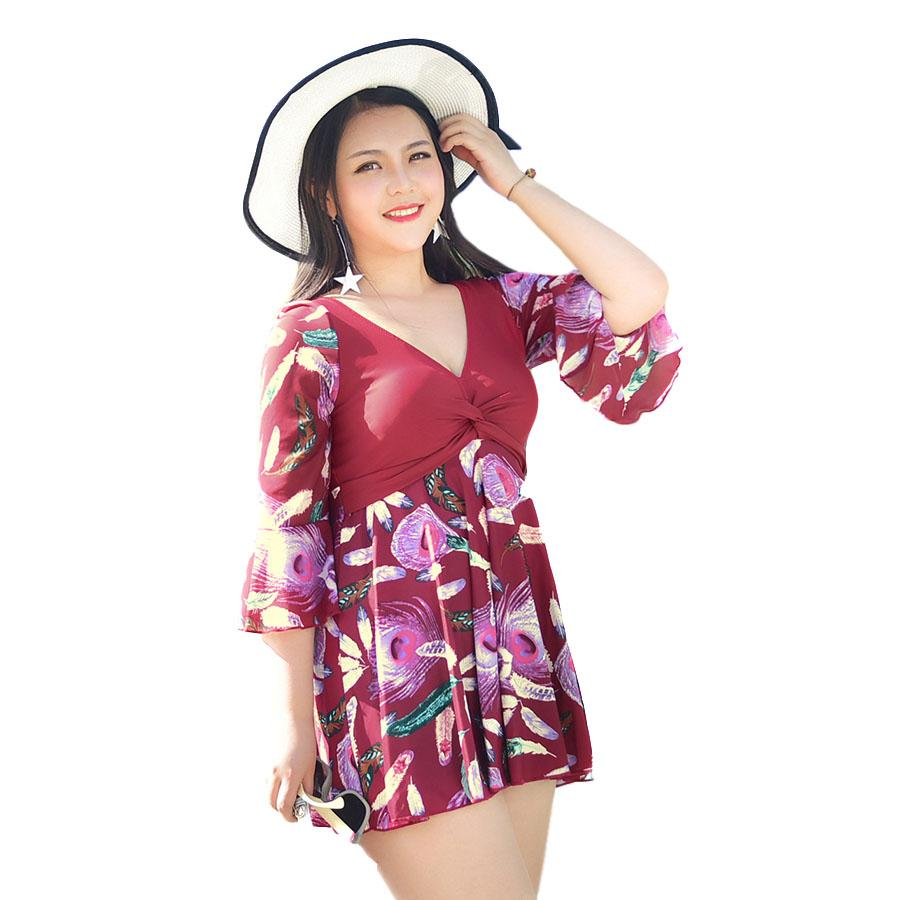 One Piece Dress Swimwear Padded Feather Skirt Women Slimming Swimsuit Cover-ups Bathing Suit Flatting Dresses-SheSimplyShops