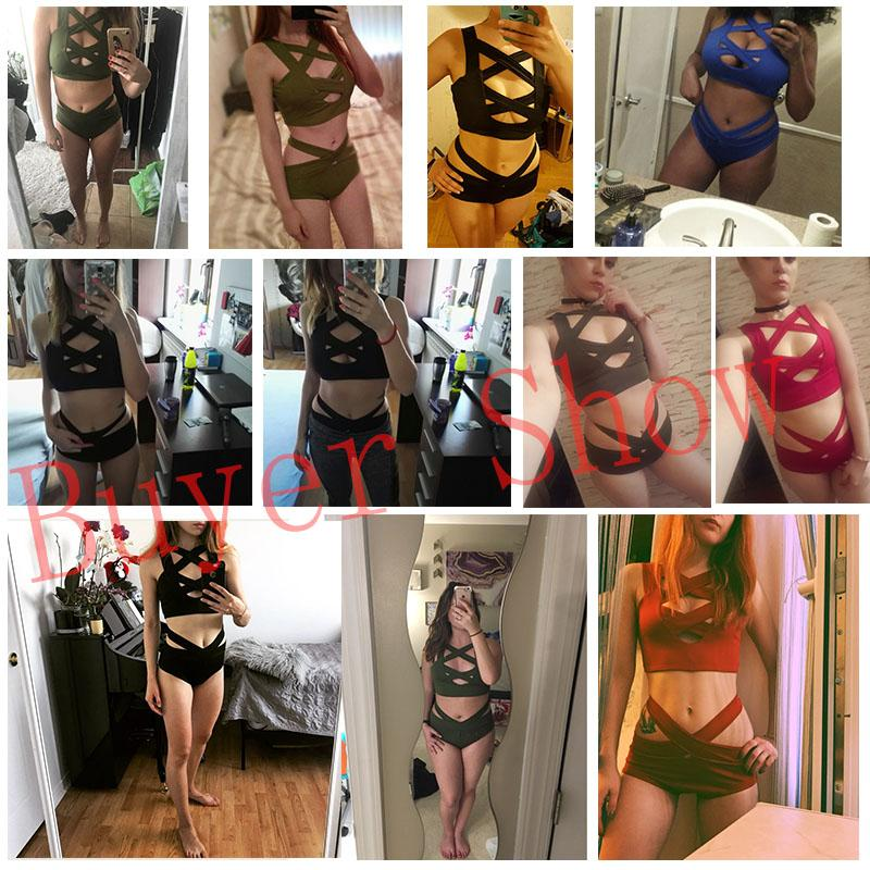 Sexy Criss Cross Bikini Bandage Swimsuit Women Push Up Swimwear Bikini Set Wrap Top Bathing Suit Biquini-Tops-SheSimplyShops