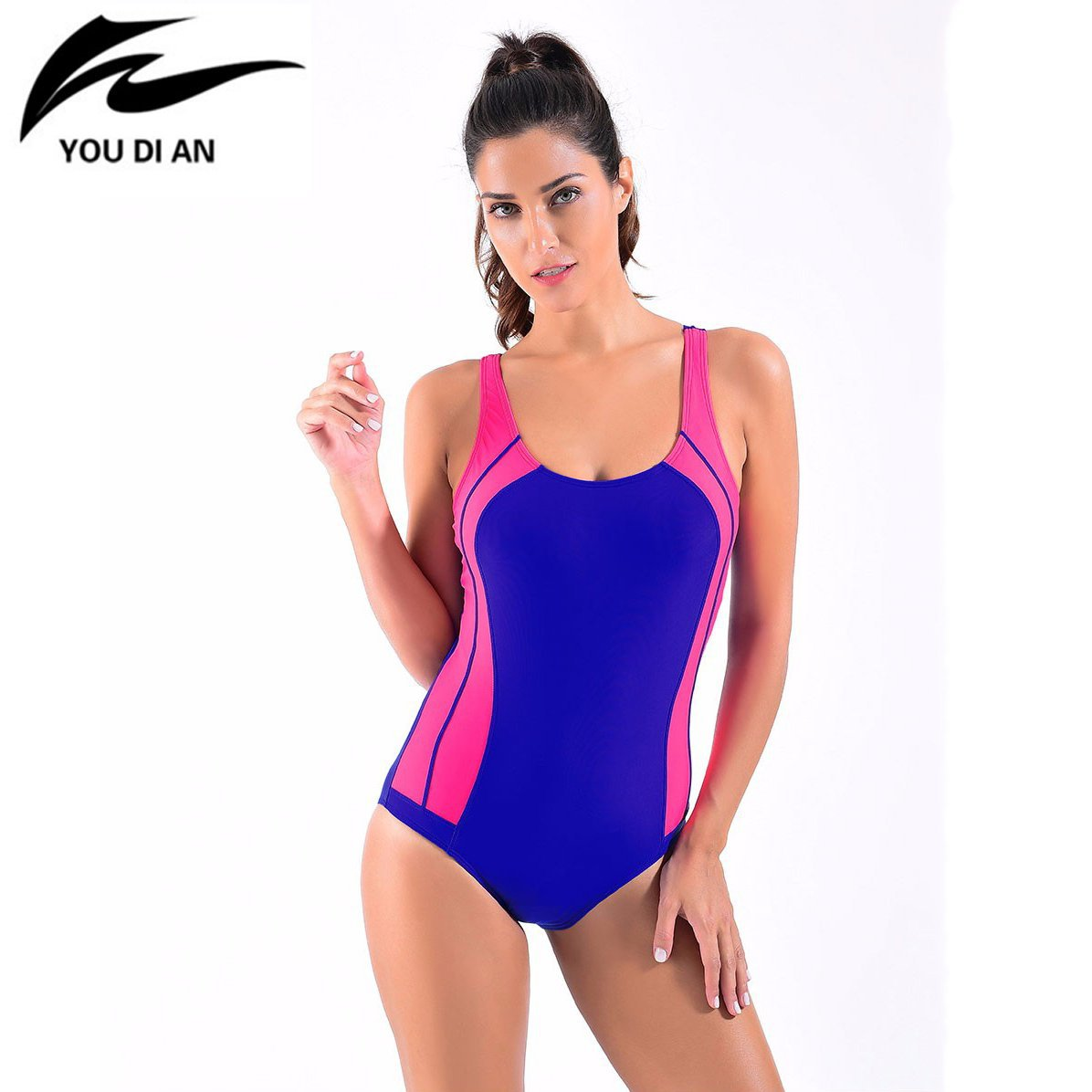 Women One Piece Swimsuit Padded Sportswear Swim suits Women Patchwork Bathing Suit-ACTIVEWEAR-SheSimplyShops