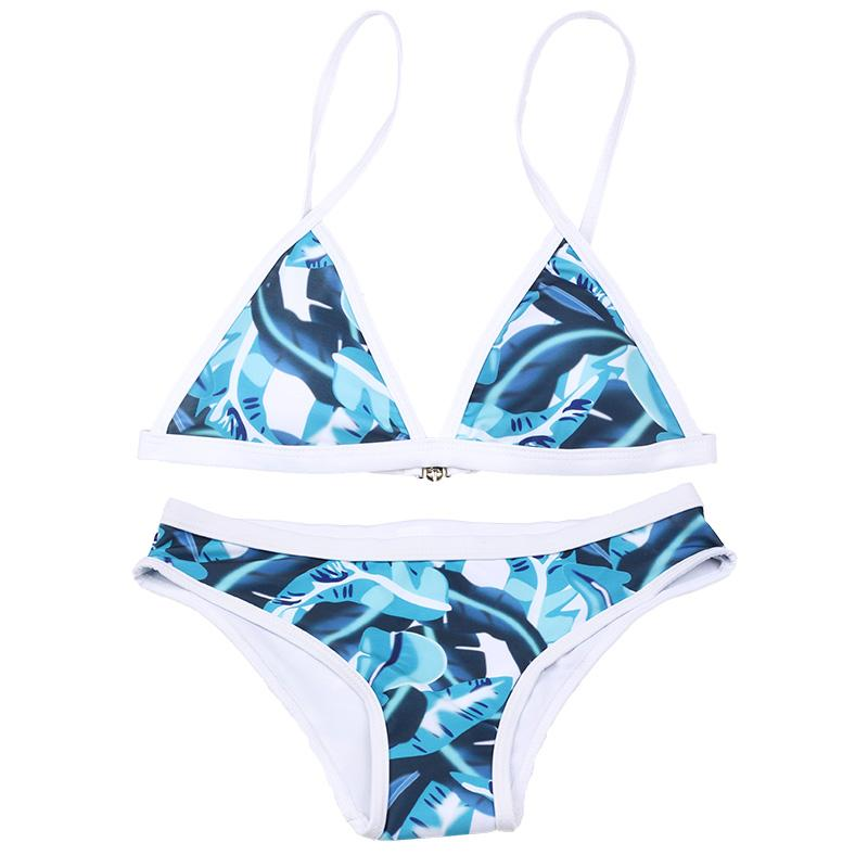 Sexy Triangle Bikinis Swimsuit Blue Leaves Print Swimwear Women Female Bikini Set Bathing Suits-SWIMWEAR-SheSimplyShops