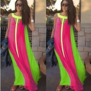 Summer Dress Sleeveless Stitching Maxi Dress Casual Sexy Party Dresses Party Dresses-Dress-SheSimplyShops