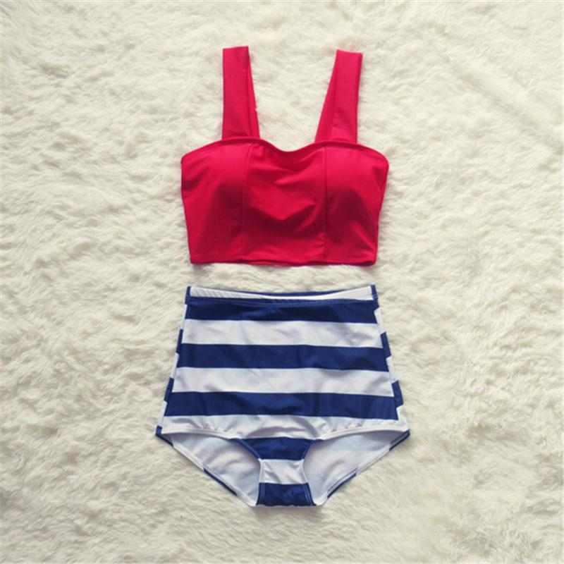 Women Ruffle Solid Top Striped Pink Swimwear Swimsuit Junior Bikini Set Padded Bathing Suit High Waist-Tops-SheSimplyShops