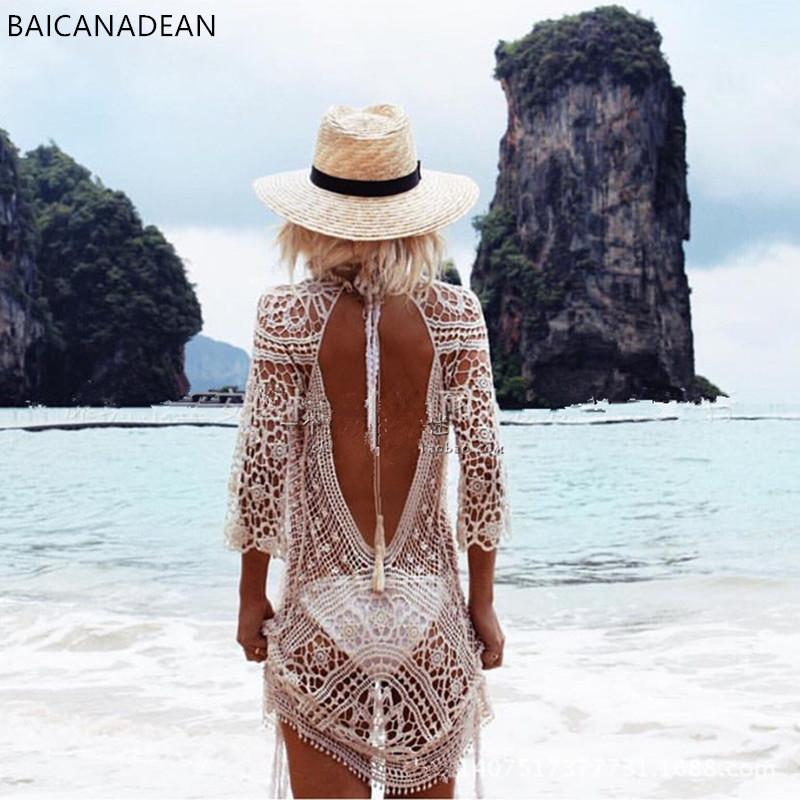 New sexy halter lace crochet bikini swimsuit sun open beach female clothes clothing coat-Coats & Jackets-SheSimplyShops