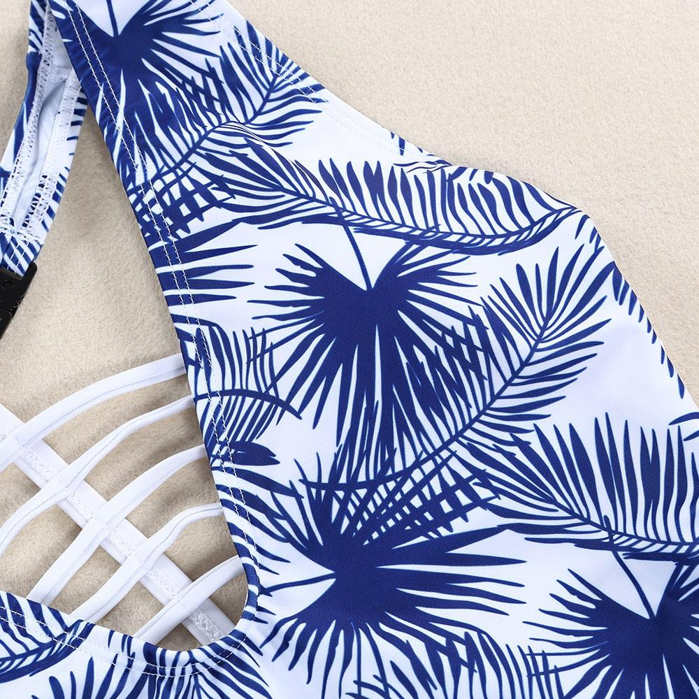 Sexy V Neck Hollow Out Strap Pad Print Women Swimsuit-HATS-SheSimplyShops