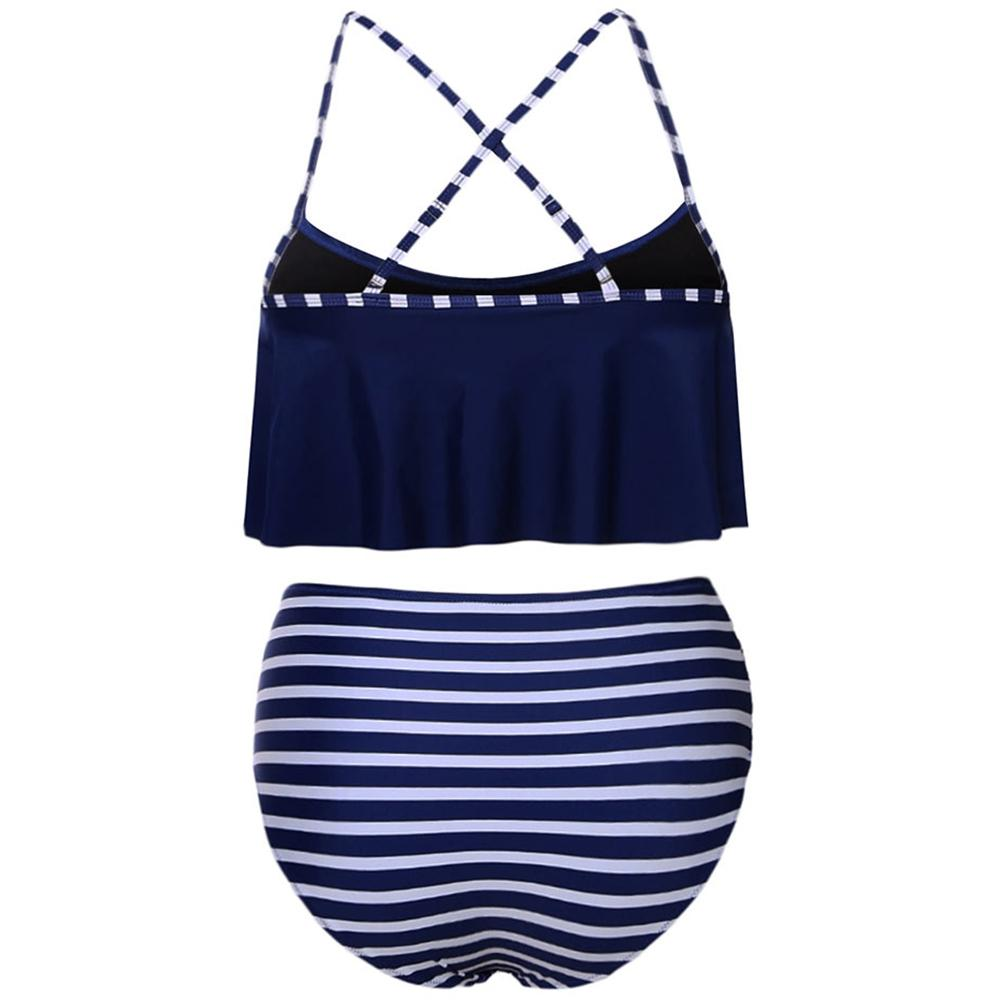 Striped Ruffle High Waisted Bikini Set-PANTS-SheSimplyShops