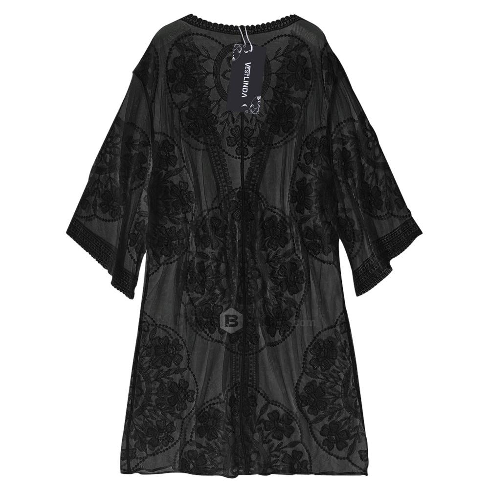 Embroidered Sheer Kimono Cover Up-Bottoms-SheSimplyShops