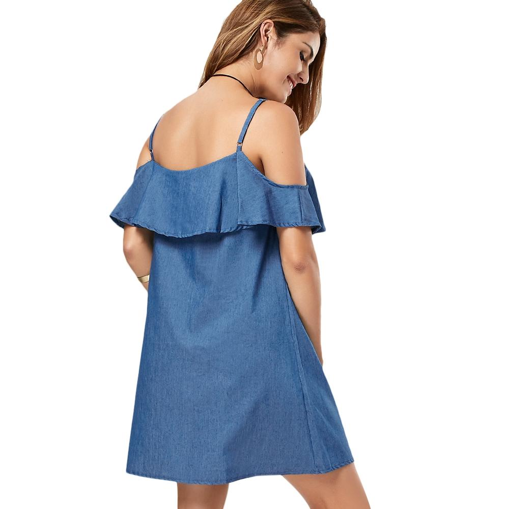 Cold Shoulder Flounce Denim Dress-Dress-SheSimplyShops