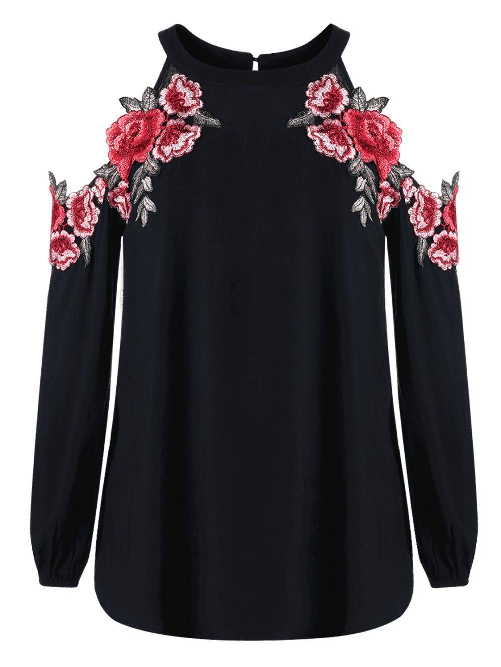 Embroidery Applique Cold Shoulder Top-SHIRTS-SheSimplyShops