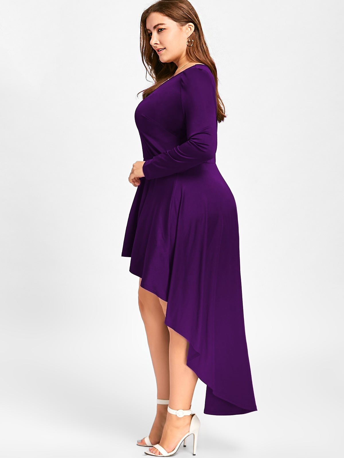 Plus Size V Neck Cocktail Dress-Dress-SheSimplyShops
