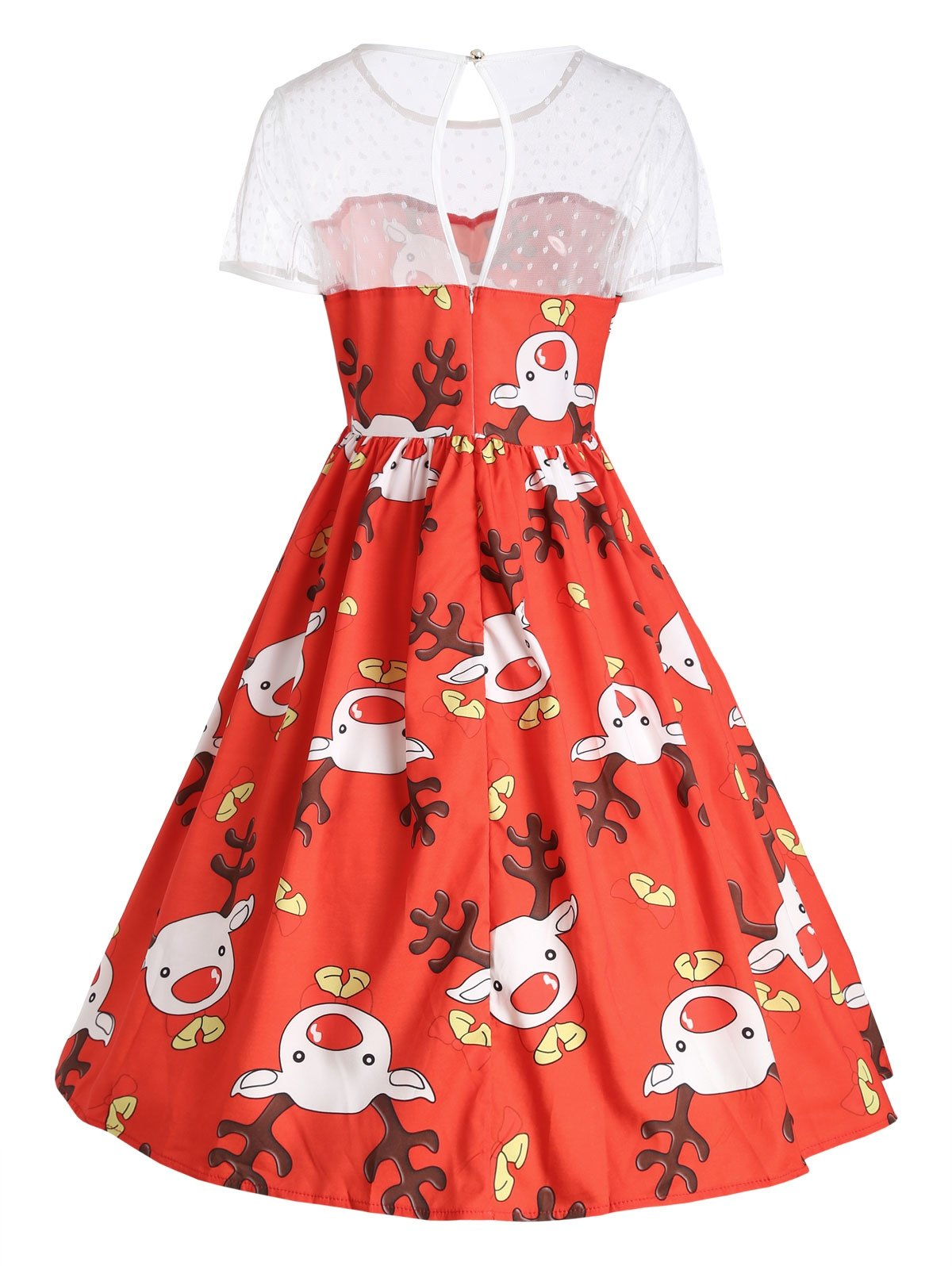 Mesh Panel Cute Christmas Reindeer Party Dress-Dress-SheSimplyShops