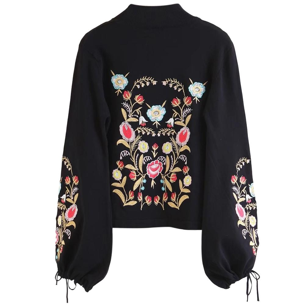 Stylish Stand Collar Long Sleeve Embroidery Women Sweater-Dress-SheSimplyShops