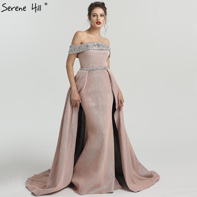Boat Neck Beading Evening Dresses Newest Designer Off Shoulder Sexy Evening Gowns-SheSimplyShops