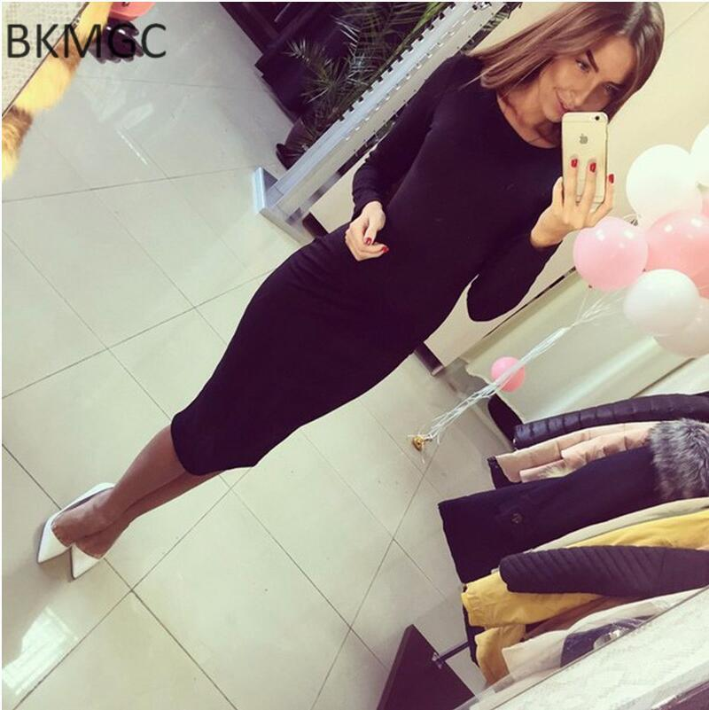 Fall Women's Shoulders Office Dresses Solid Tight Short Sleeve Knee Length Pack Buttocks Dress Female-Dress-SheSimplyShops