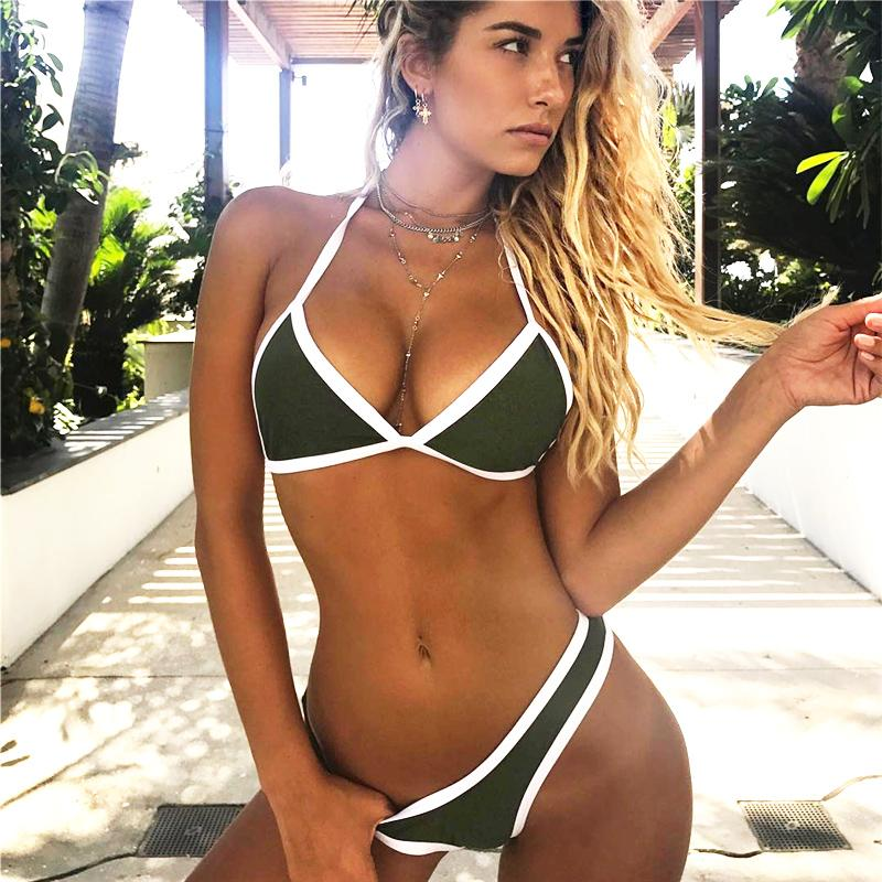 2018 Halter Lace Up Bikini Multi Solid Colour Women Swimwear Trim Low Rise Brazilian High Cut Leg Bandage Micro Bikinis Swimsuit-SWIMWEAR-SheSimplyShops