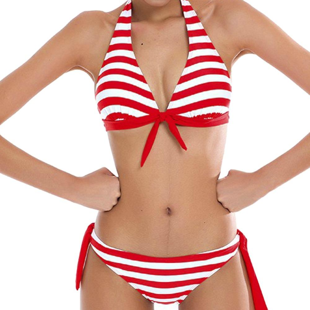 Women Bikinis Two-Piece Swimsuit Swimwear Halter Top Striped Bikini Set Bathing Suit Beach Wear-Tops-SheSimplyShops